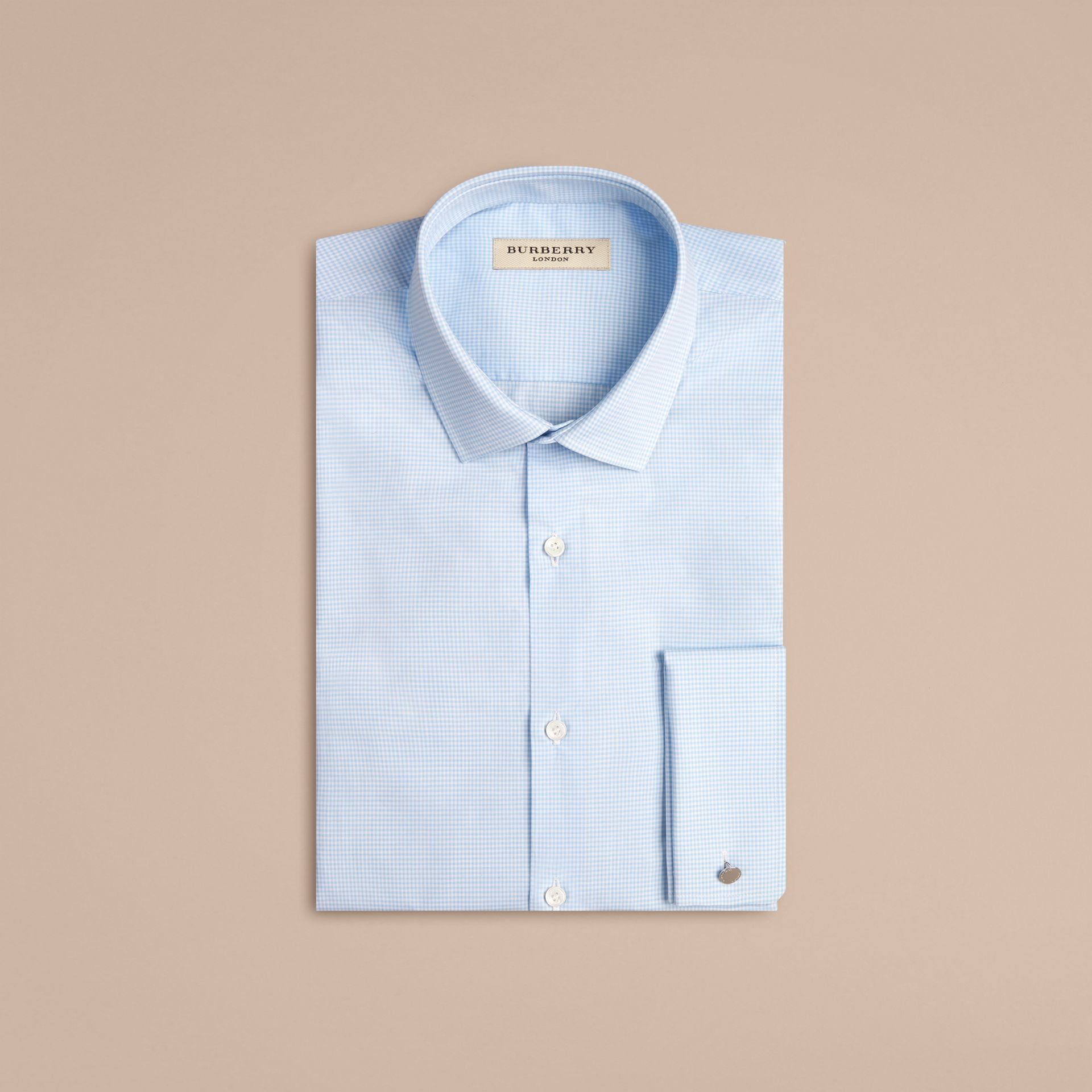 City blue Modern Double-cuff Gingham Cotton Poplin Shirt - gallery image 4