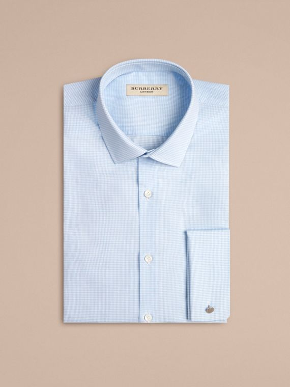 City blue Modern Double-cuff Gingham Cotton Poplin Shirt - cell image 3