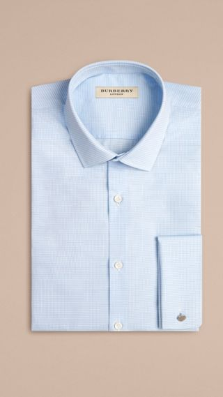 Modern Double-cuff Gingham Cotton Poplin Shirt
