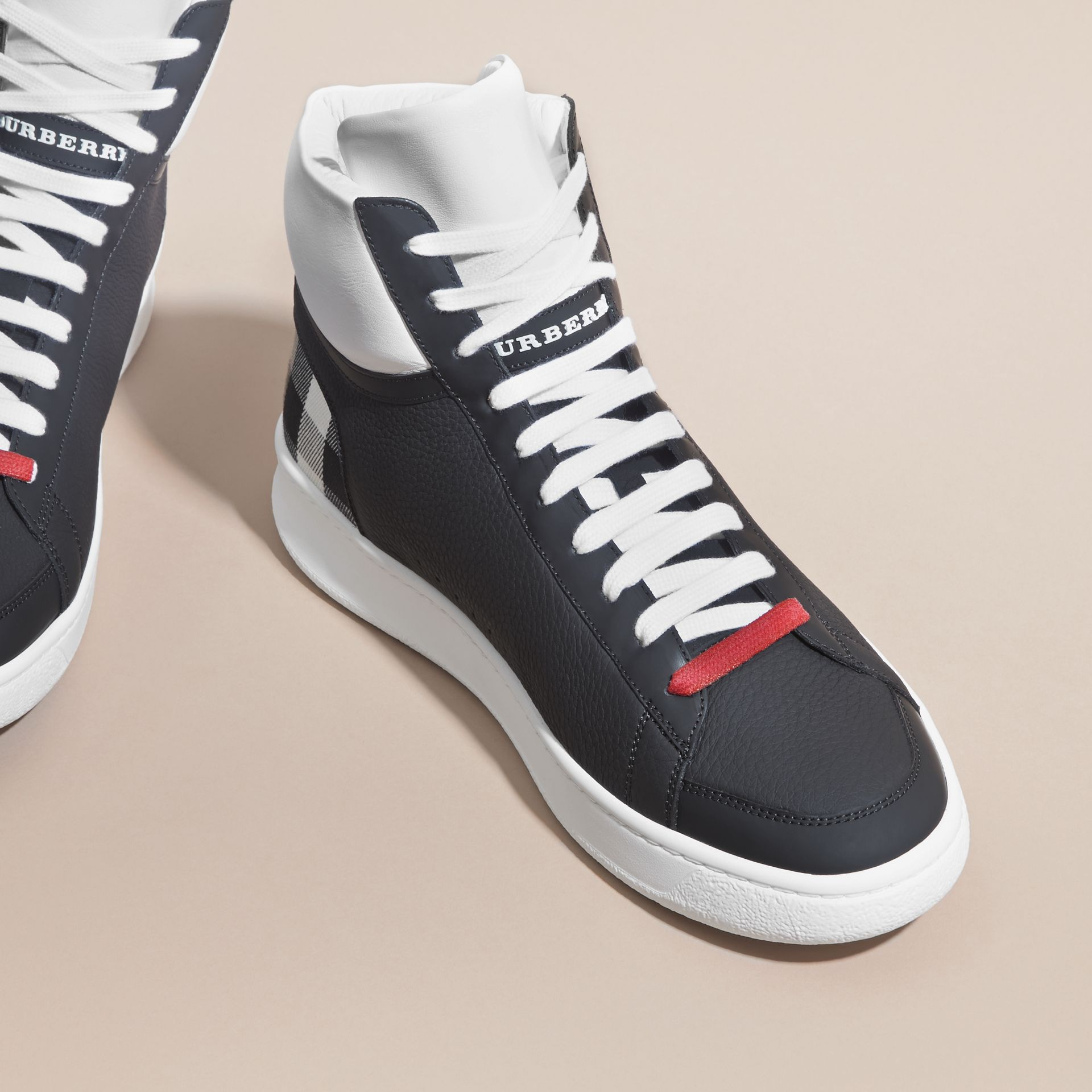 Check Detail Leather High-top Trainers in House Check/black - gallery image 3