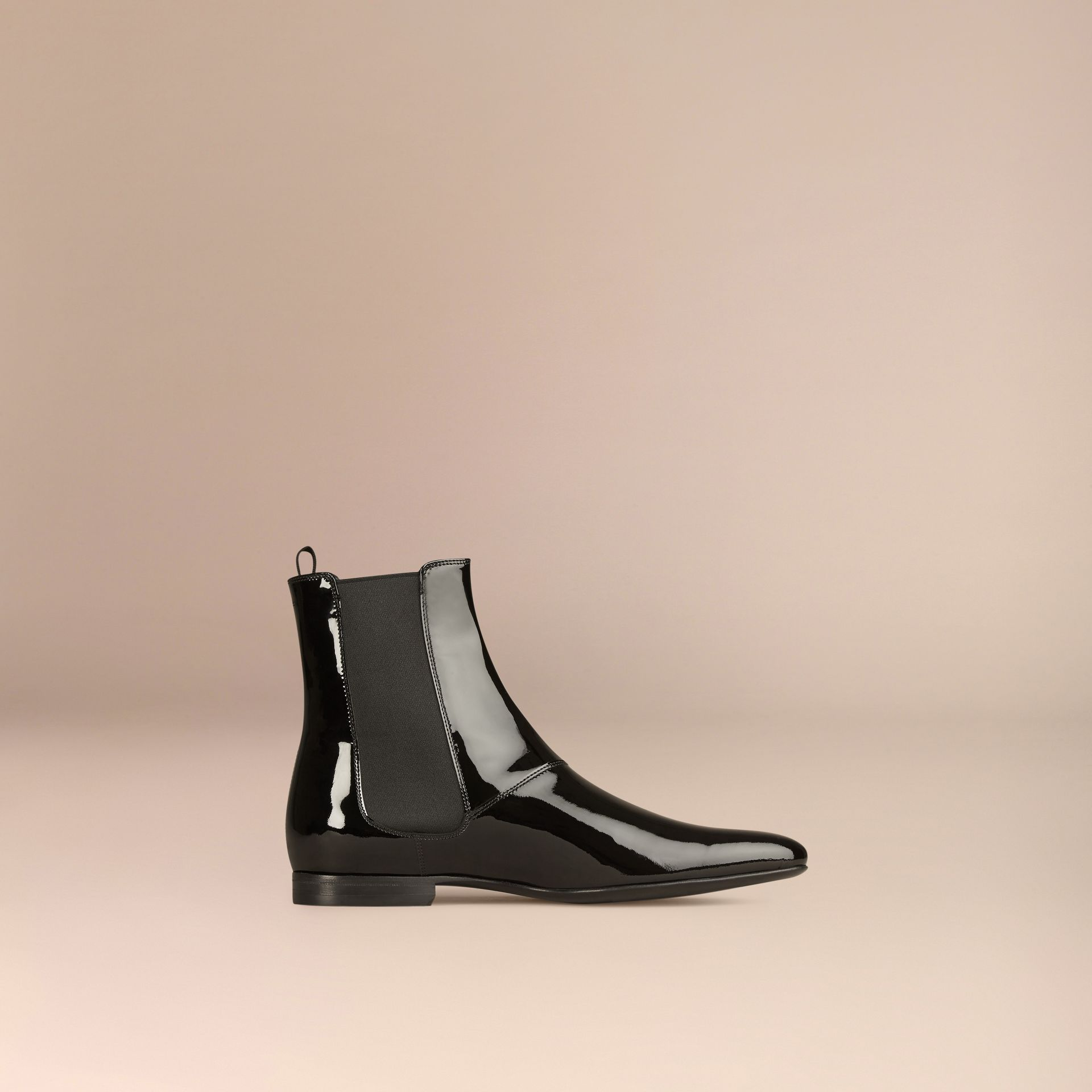 Black Patent Leather Chelsea Boots - gallery image 3
