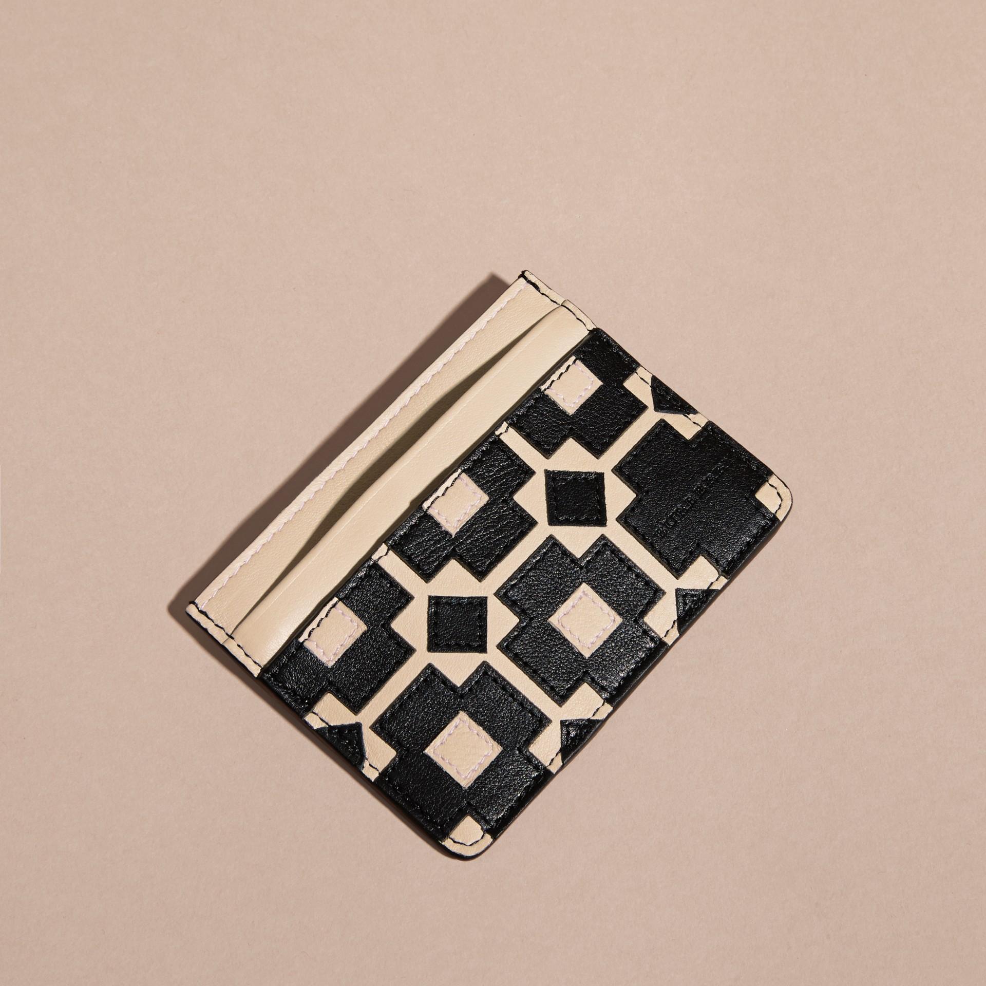 Stone Geometric Appliqué Leather Card Case - gallery image 4