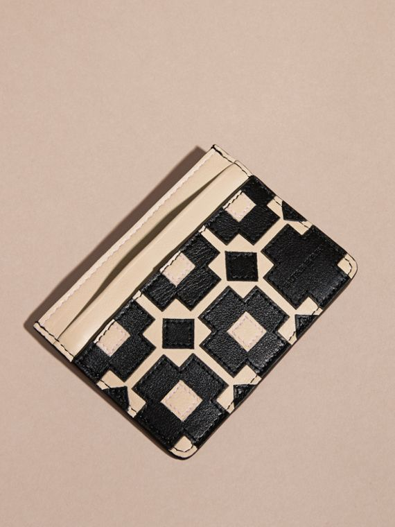 Stone Geometric Appliqué Leather Card Case - cell image 3