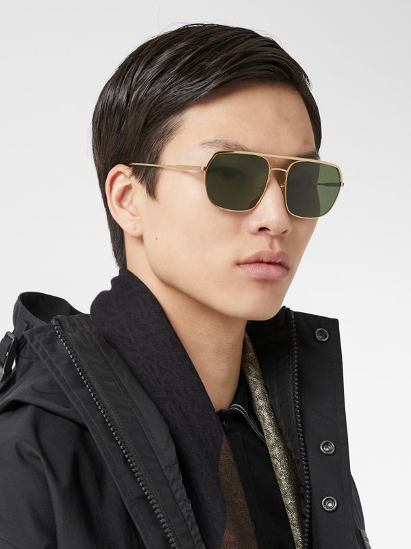 Square Pilot Sunglasses in Vintage Brushed Gold - Men | Burberry United Kingdom - cell image 2