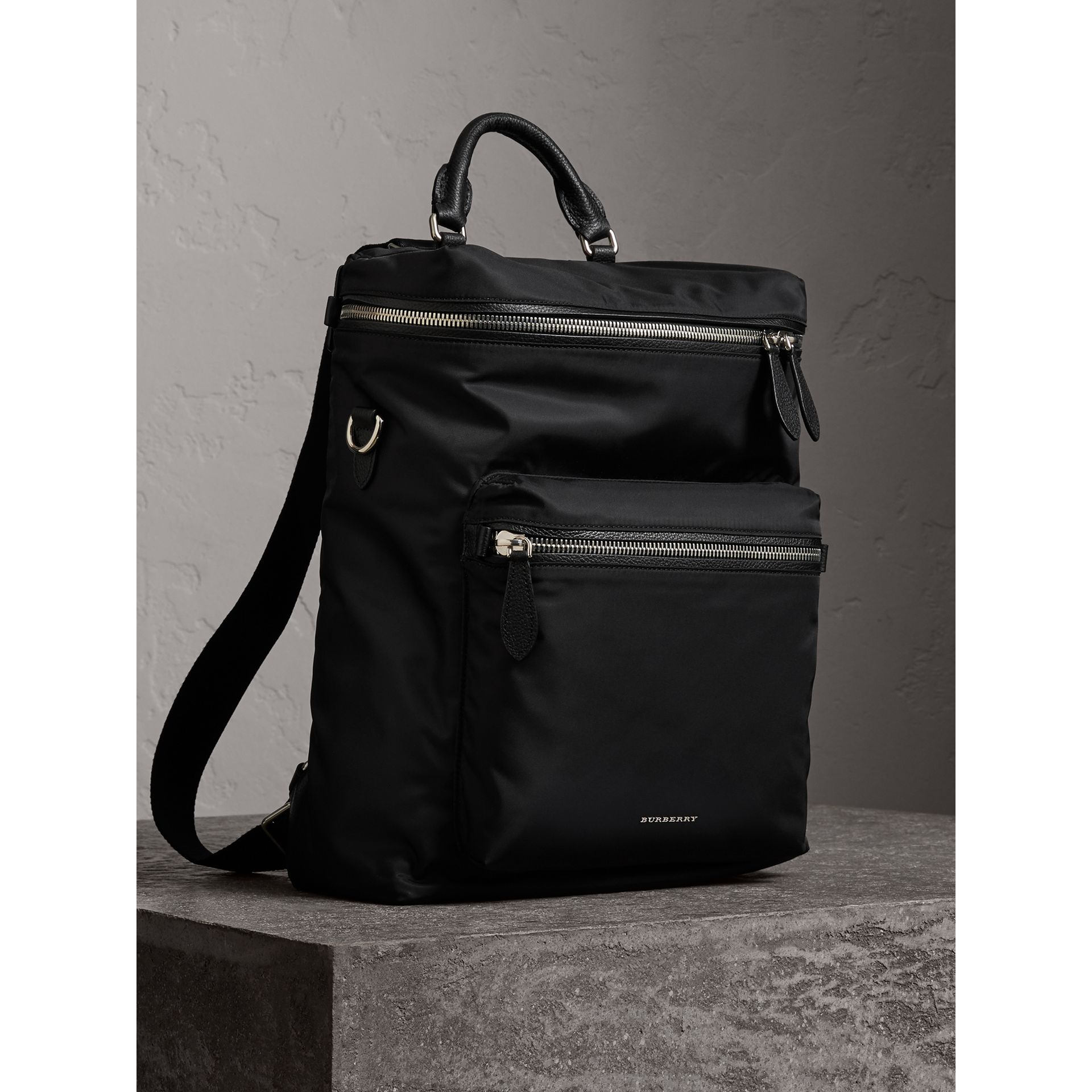 Zip-top Leather Trim Showerproof Backpack in Black - Men | Burberry United States - gallery image 7