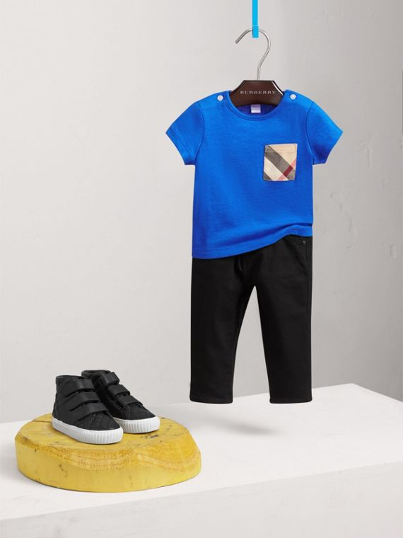 Check Pocket Cotton T-shirt in Cobalt Blue