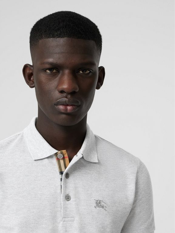 Check Placket Cotton Polo Shirt in Pale Grey Melange - Men | Burberry - cell image 1