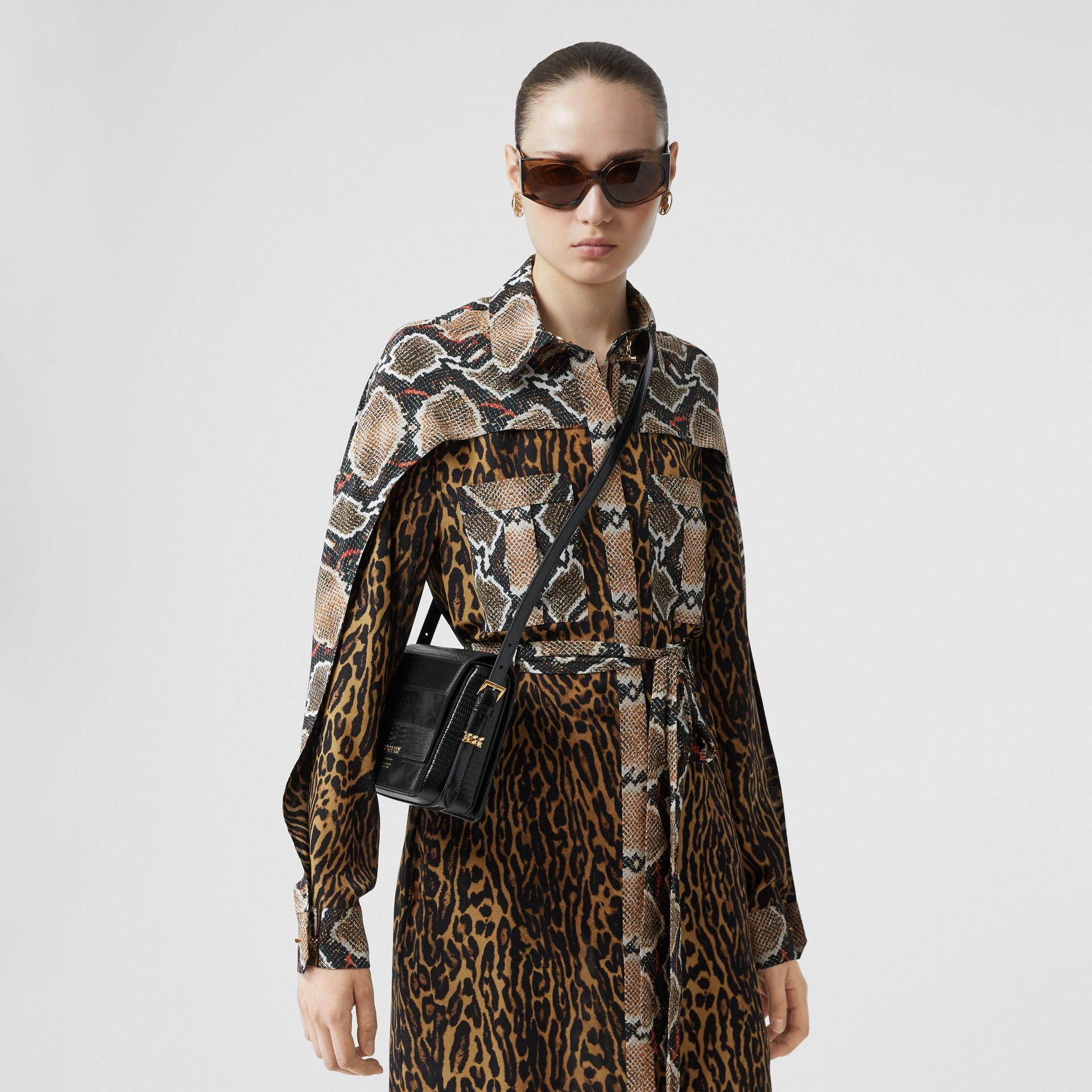 Petit sac Grace en cuir de cerf et cuir velours (Noir) - Femme | Burberry - photo de la galerie 2