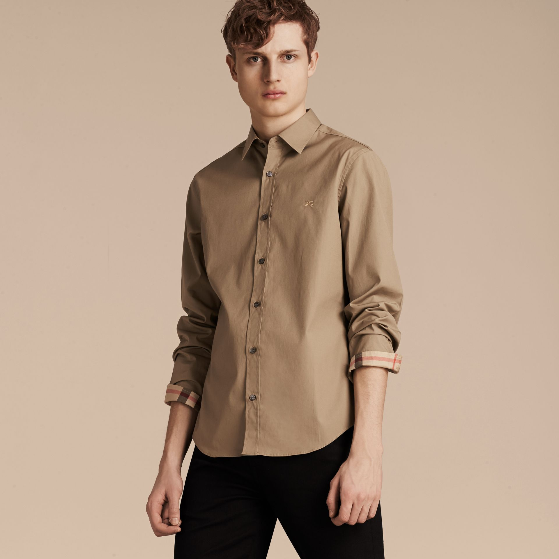 Dark honey Check Detail Stretch Cotton Poplin Shirt Dark Honey - gallery image 6