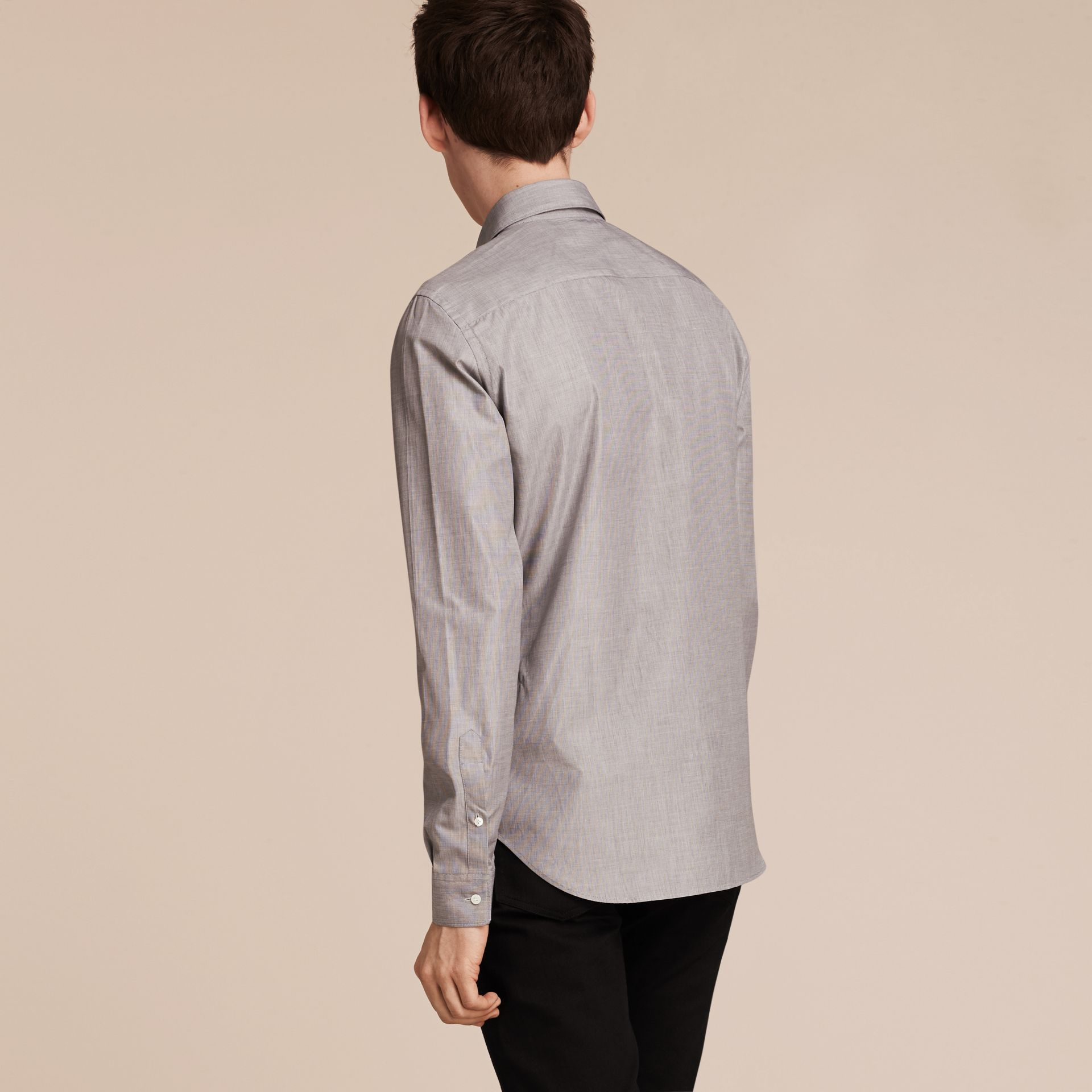 Mid grey Mélange Cotton Shirt Mid Grey - gallery image 3