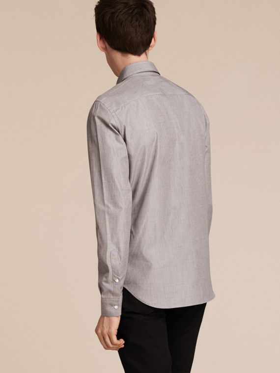 Mid grey Mélange Cotton Shirt Mid Grey - cell image 2