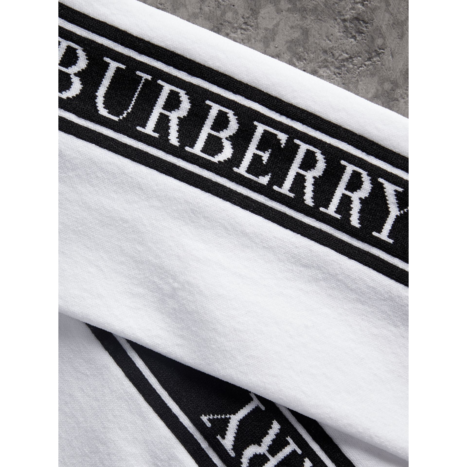 Logo Technical Knit Long Socks in White - Women | Burberry - gallery image 1