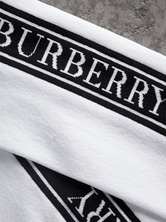 Logo Technical Knit Long Socks in White - Women | Burberry Hong Kong - cell image 1