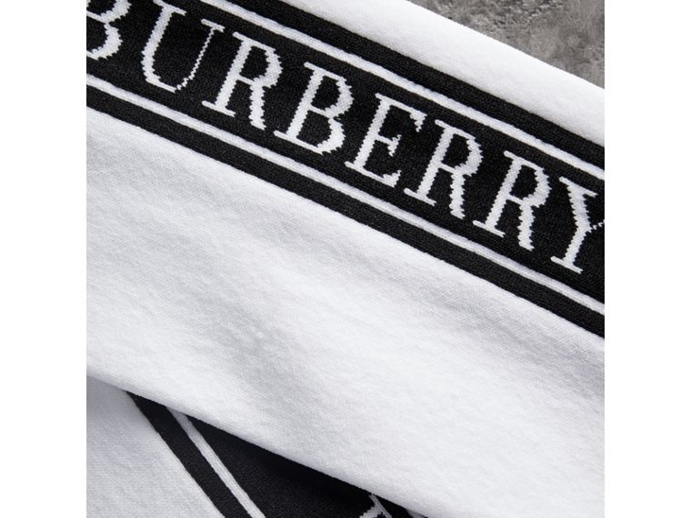 Logo Technical Knit Long Socks in White - Women | Burberry - cell image 1