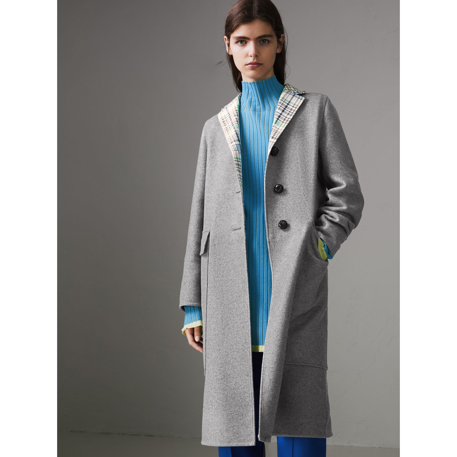 Check Collar Cashmere Coat in Pale Grey Melange - Women | Burberry - gallery image 0