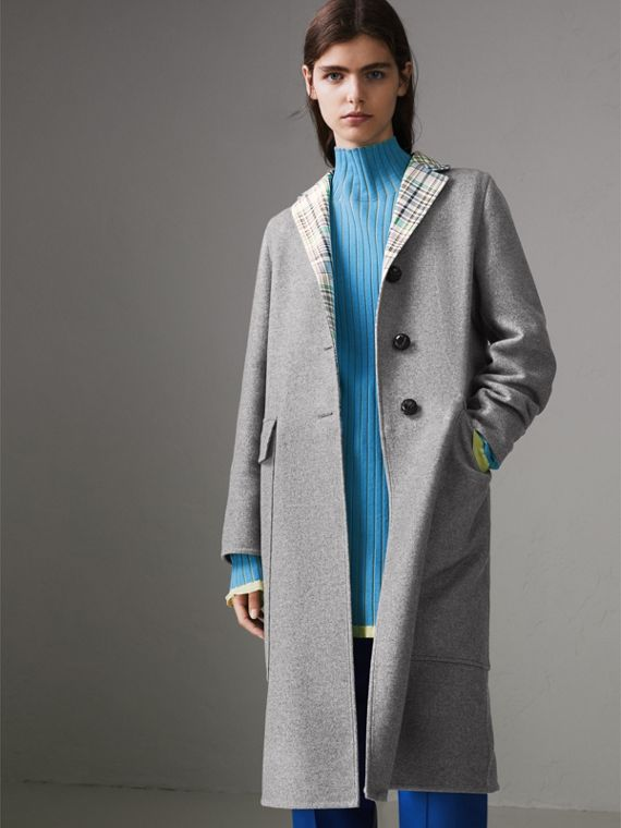 Check Collar Cashmere Coat in Pale Grey Melange
