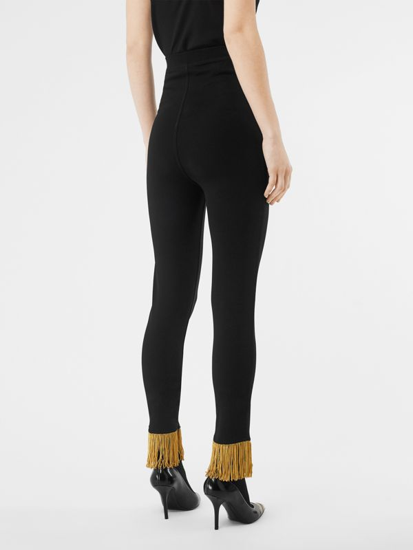 Metallic Fringe Detail Stretch Jersey Leggings in Black - Women | Burberry - cell image 2