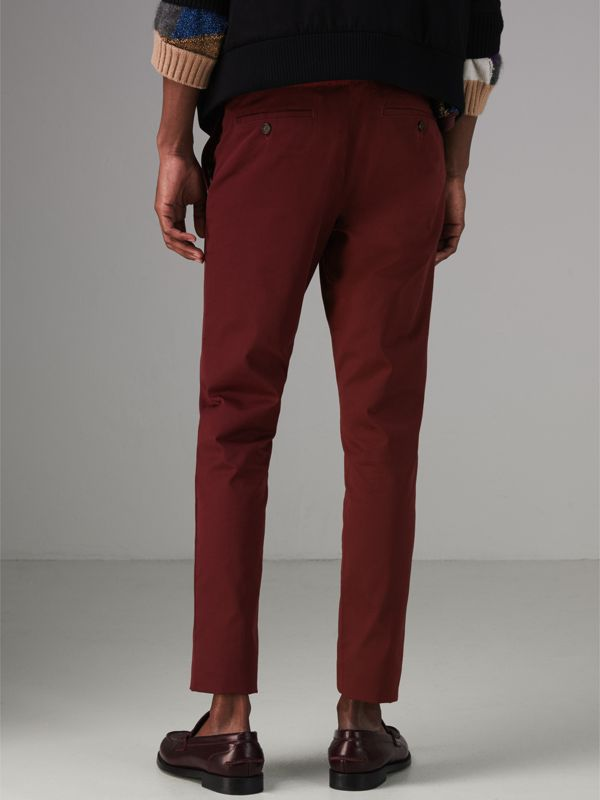 Slim Fit Cotton Chinos in Dark Crimson - Men | Burberry Singapore - cell image 2