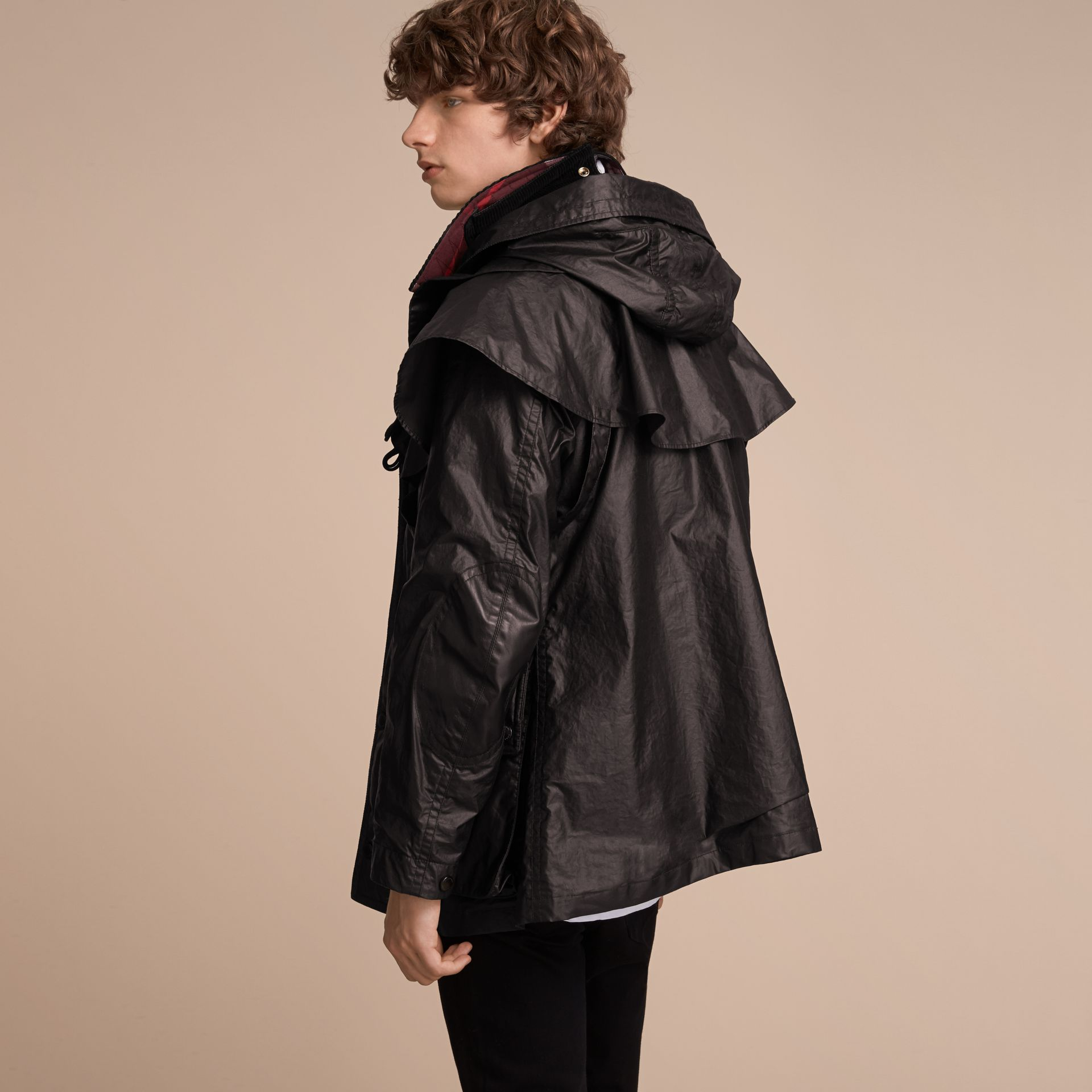 Cape Detail English-woven Waxed Cotton Field Jacket - Men | Burberry - gallery image 3