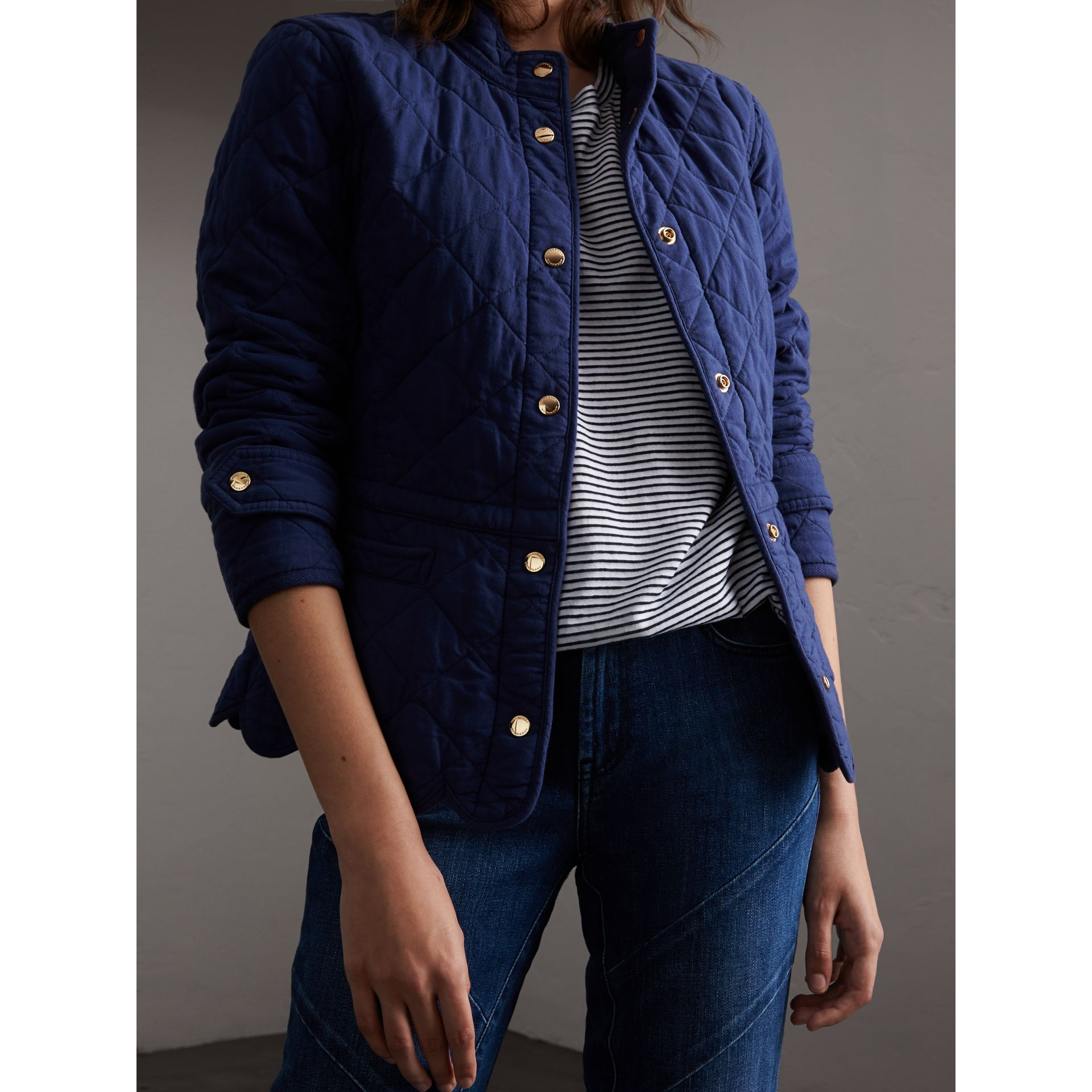 Scalloped Diamond Quilted Cotton Jacket in Indigo - Women | Burberry Australia - gallery image 5