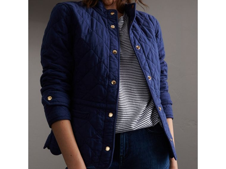 Scalloped Diamond Quilted Cotton Jacket in Indigo - Women | Burberry - cell image 4