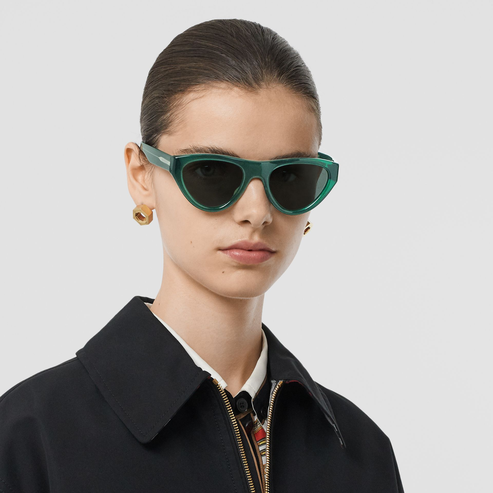 Triangular Frame Sunglasses in Green - Women | Burberry Canada - gallery image 2