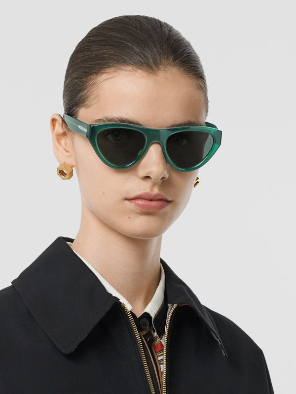 Triangular Frame Sunglasses in Green - Women | Burberry Canada - cell image 2