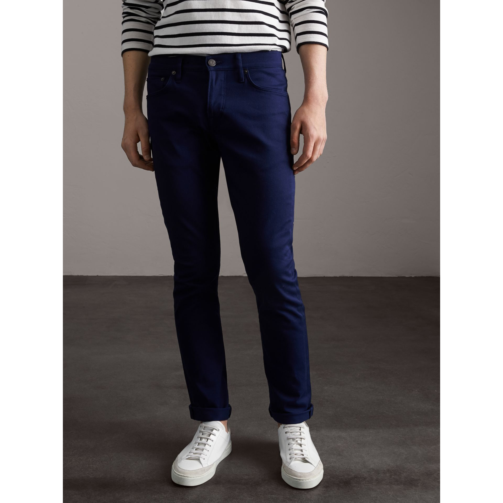 Straight Fit Unwashed Stretch Denim Jeans in Bright Navy Blue - Men | Burberry - gallery image 6