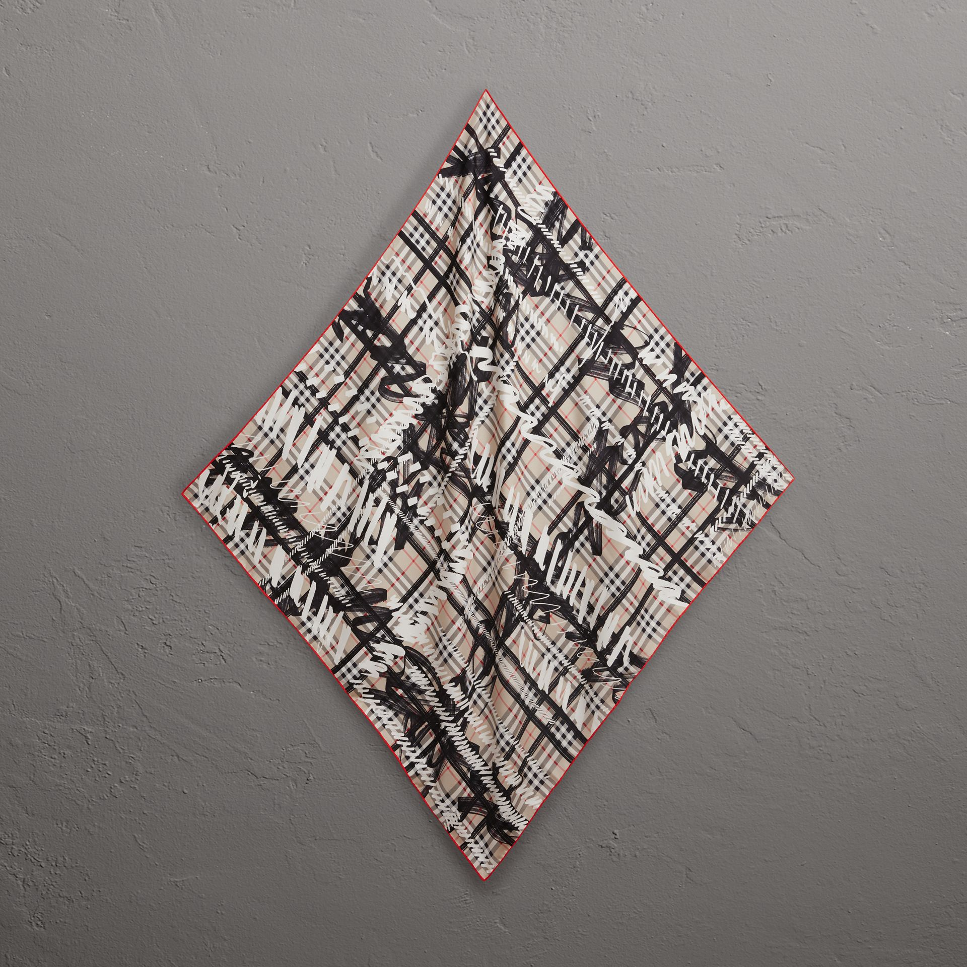 Scribble Check Silk Square Scarf in Stone - Women | Burberry - gallery image 0