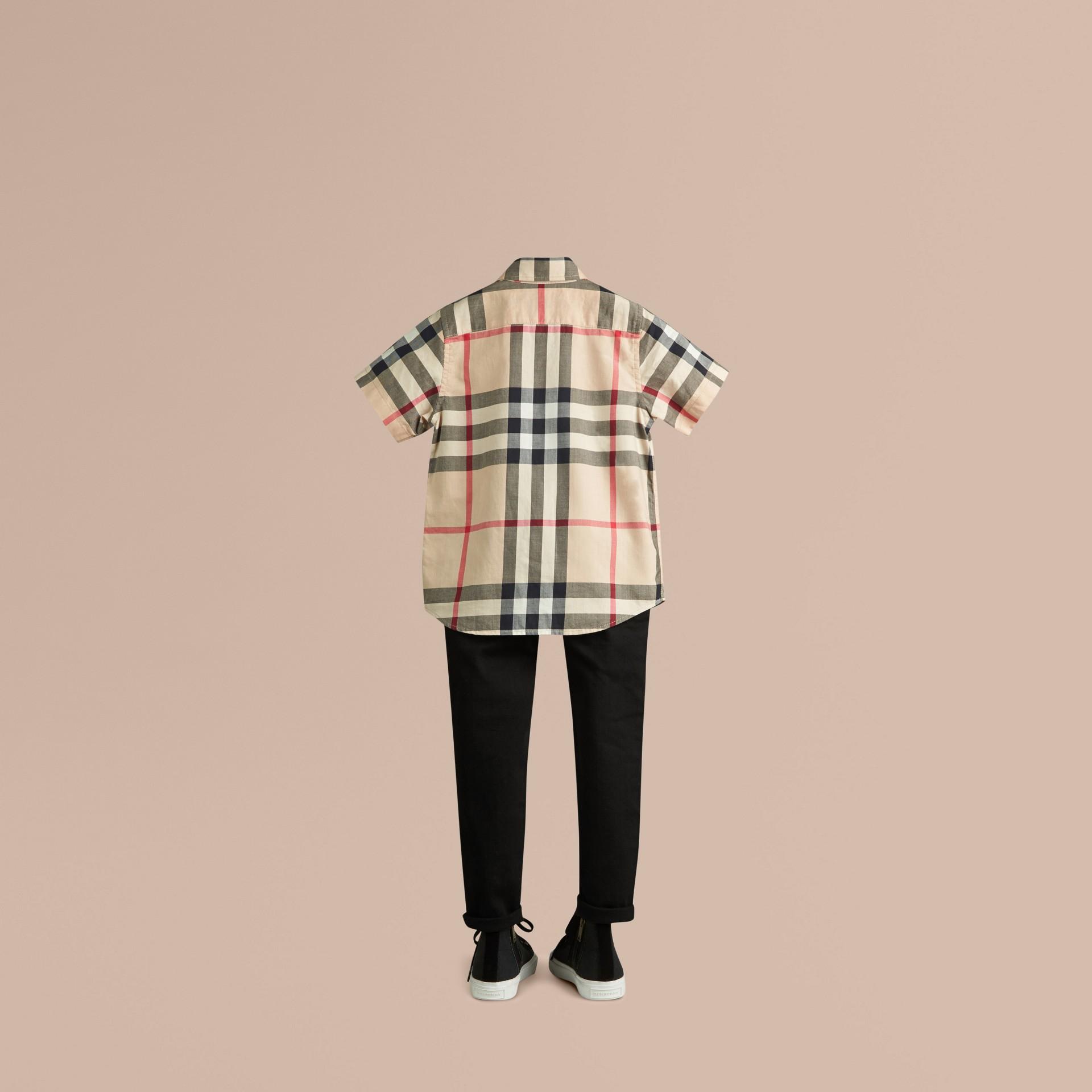 New classic Camicia a maniche corte in twill di cotone con motivo check New Classic - immagine della galleria 3