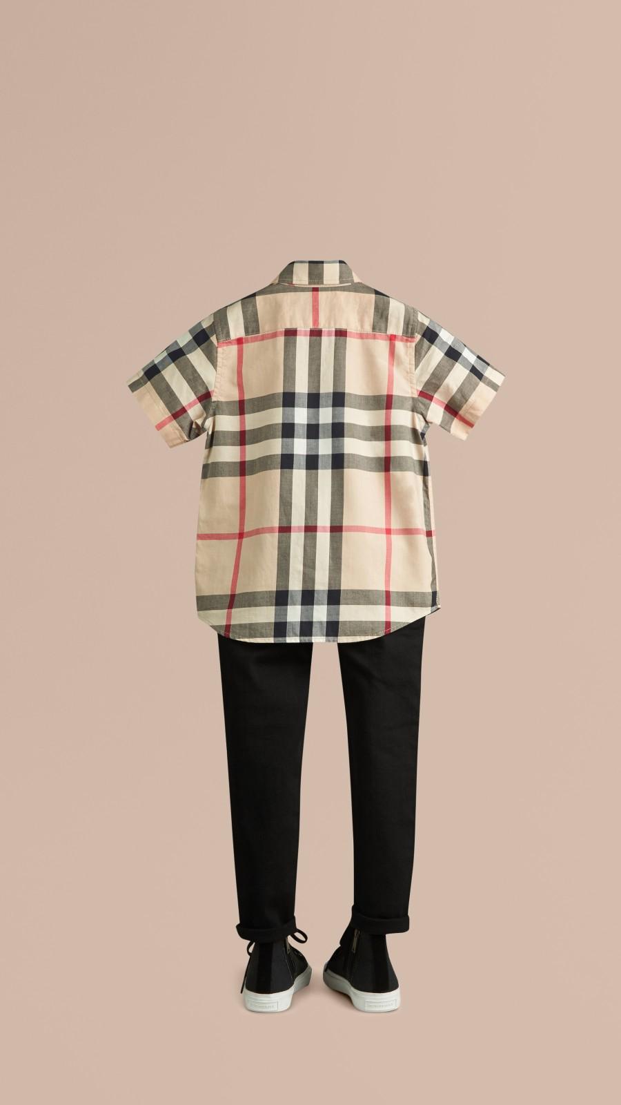 Nouveau check classique Chemise en sergé de coton à manches courtes avec motif check Nouveau  Classique - Image 3
