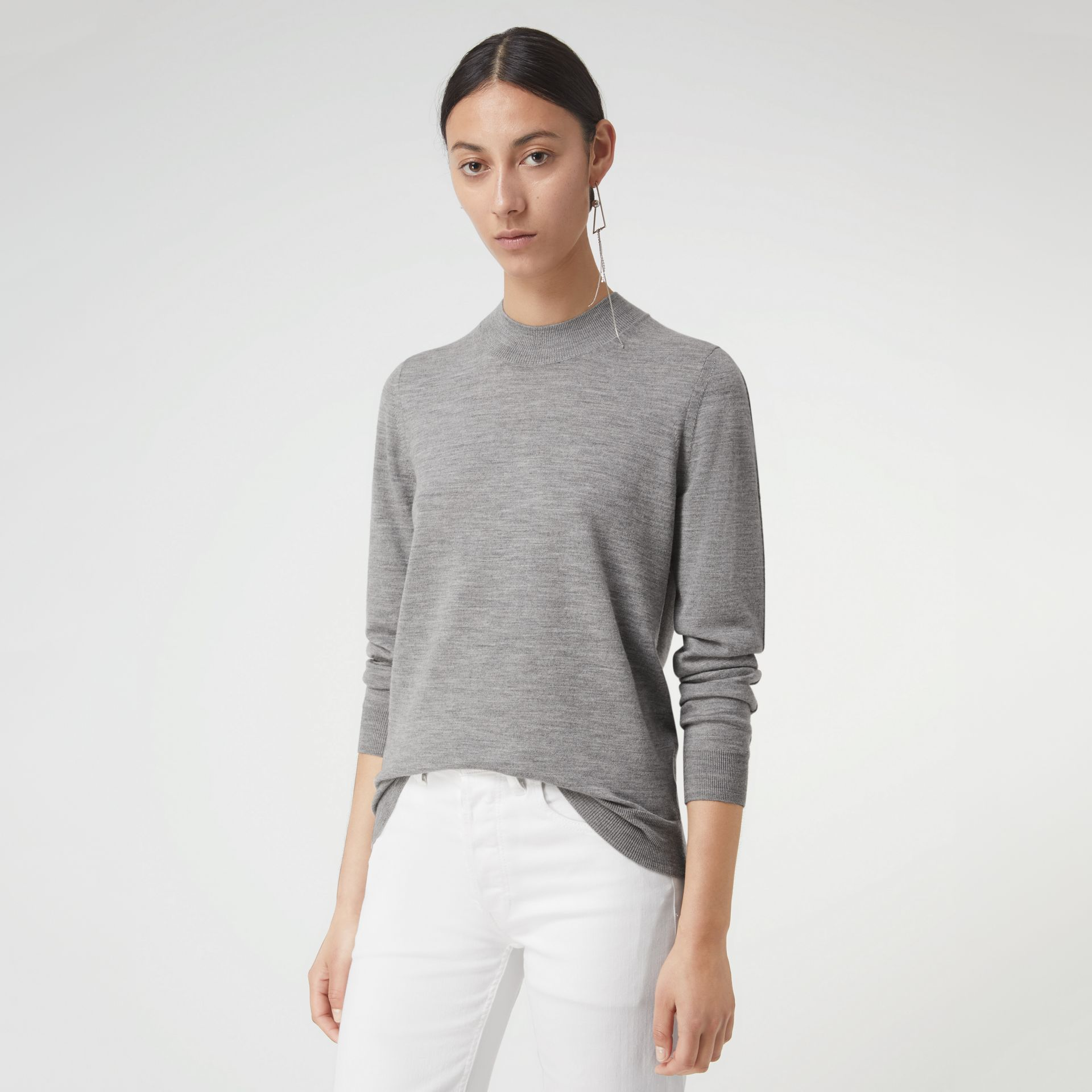 Merino Wool Crew Neck Sweater in Grey Melange - Women | Burberry United Kingdom - gallery image 0