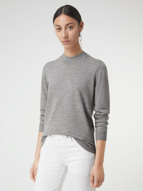 Merino Wool Crew Neck Sweater in Grey Melange