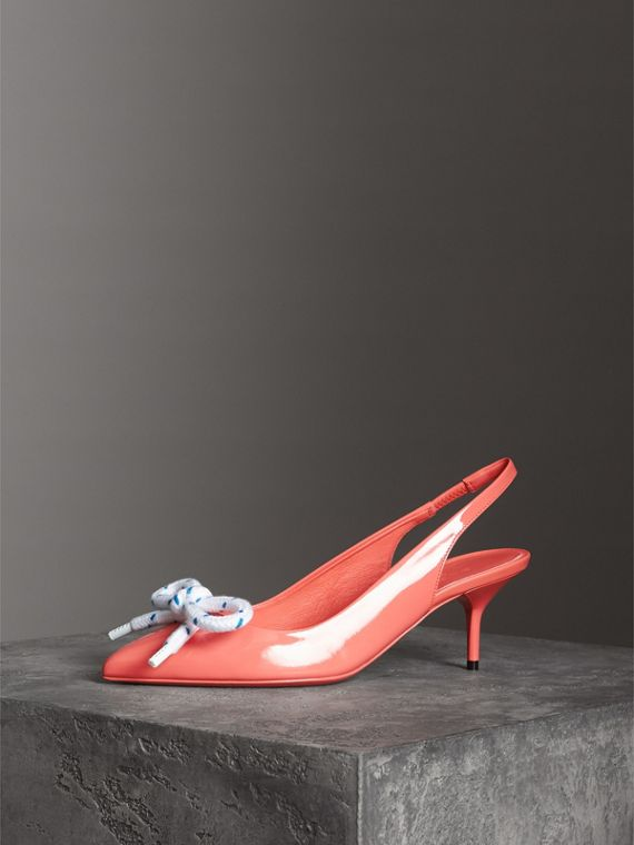 Rope Detail Patent Leather Slingback Pumps in Pink Azalea - Women | Burberry - cell image 2