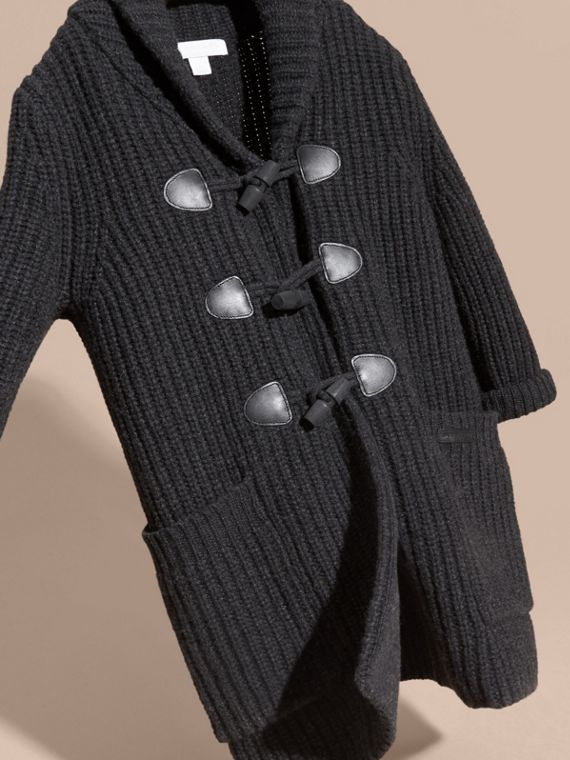 Charcoal melange Toggle Closure Wool Cashmere Cardigan - cell image 2
