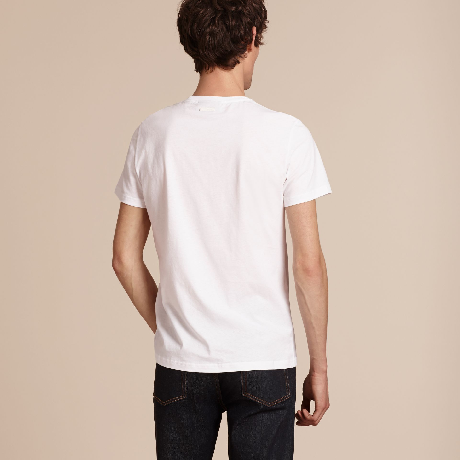 White Passion Motif Cotton T-shirt White - gallery image 3
