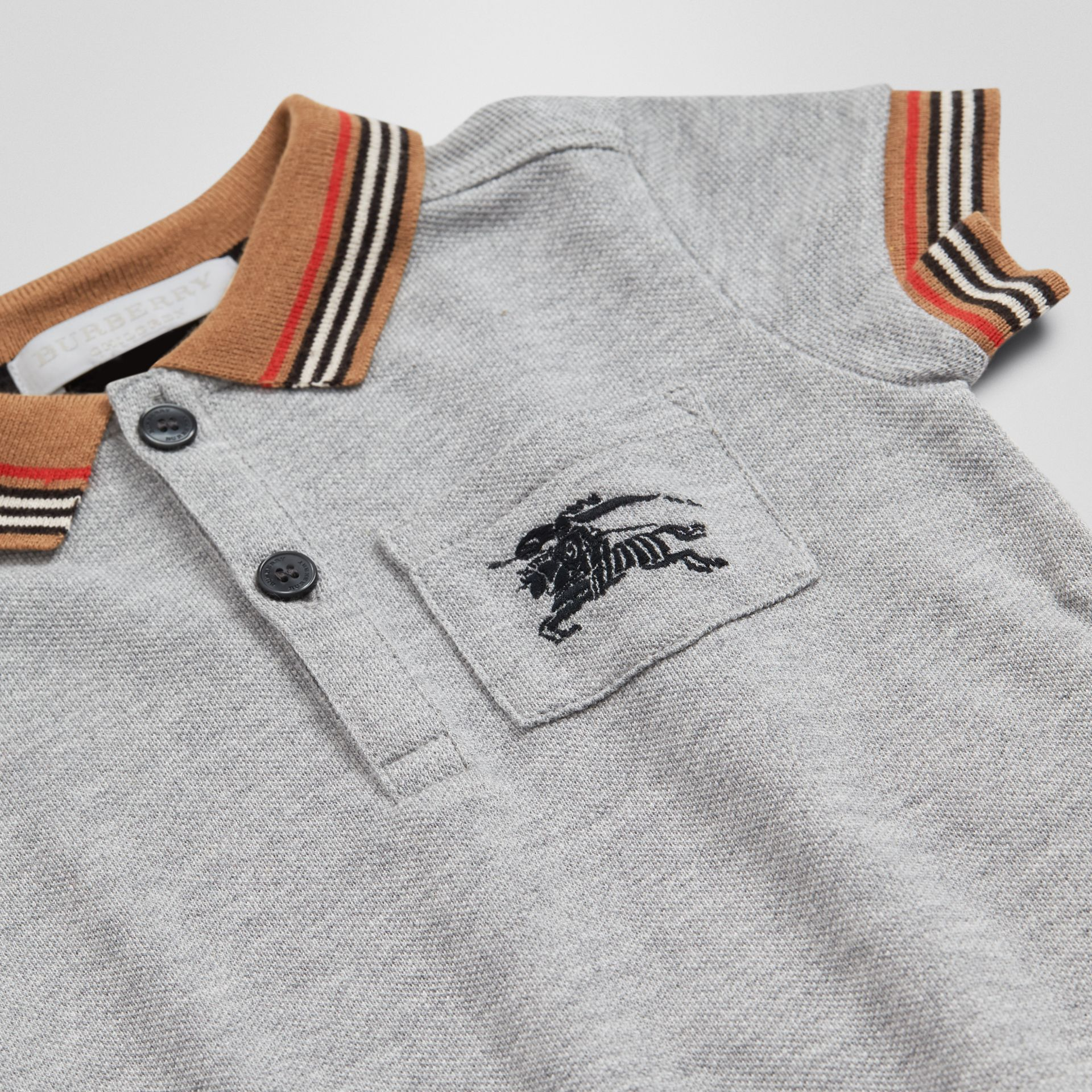Icon Stripe Detail Cotton Polo Shirt in Grey Melange - Children | Burberry - gallery image 1