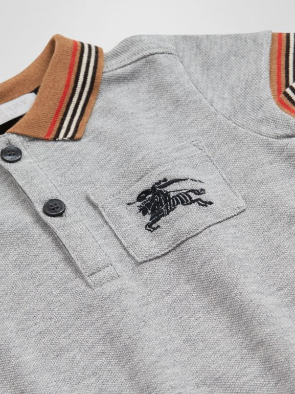 Icon Stripe Detail Cotton Polo Shirt in Grey Melange - Children | Burberry United Kingdom - cell image 1
