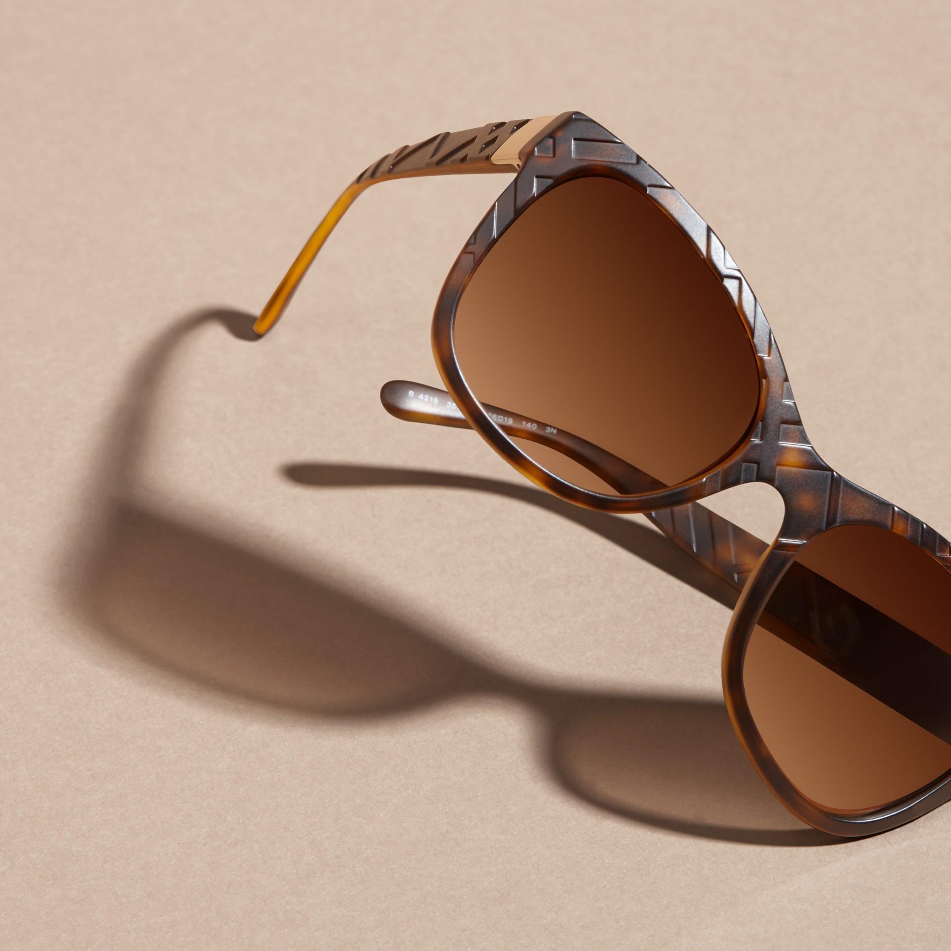 Tortoise shell 3D Check Square Frame Sunglasses Tortoise Shell - gallery image 5