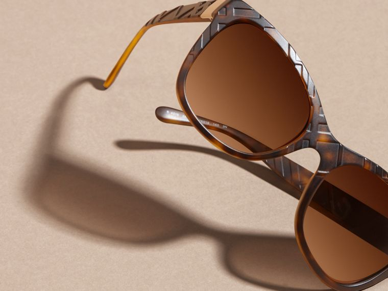 Tortoise shell 3D Check Square Frame Sunglasses Tortoise Shell - cell image 4