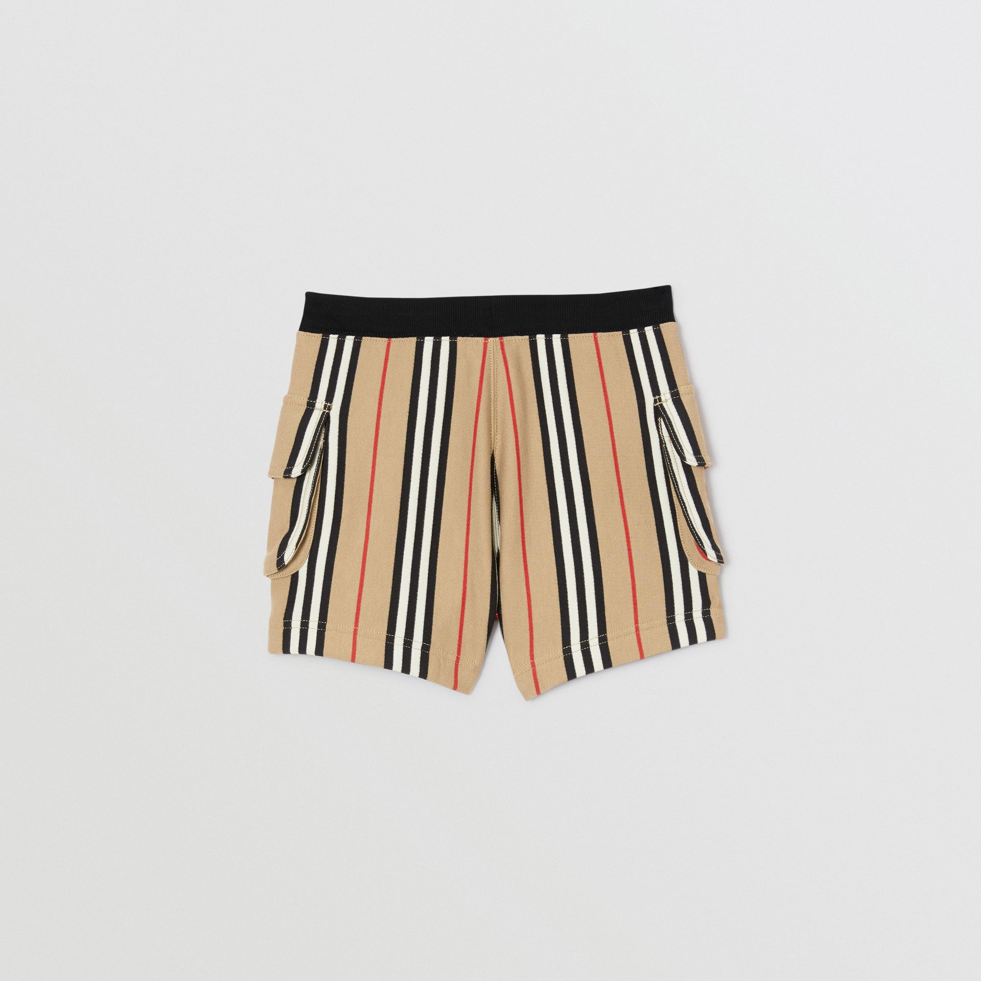 Icon Stripe Cotton Drawcord Shorts in Archive Beige | Burberry - gallery image 4