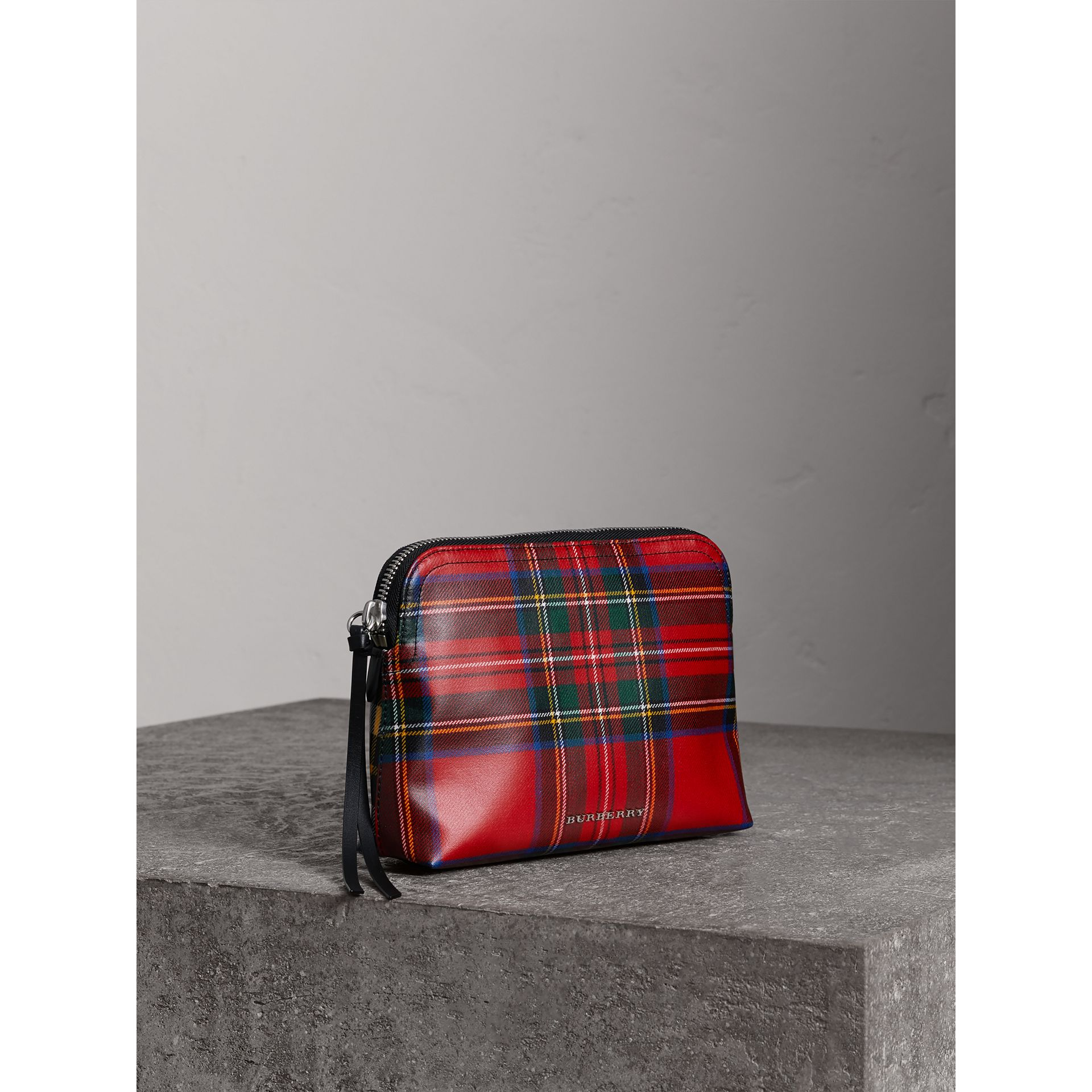 Large Laminated Tartan and Check Wool Blend Pouch in Military Red - Women | Burberry - gallery image 3