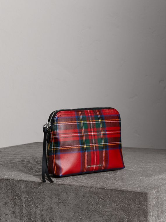Large Laminated Tartan and Check Wool Blend Pouch in Military Red - Women | Burberry - cell image 3