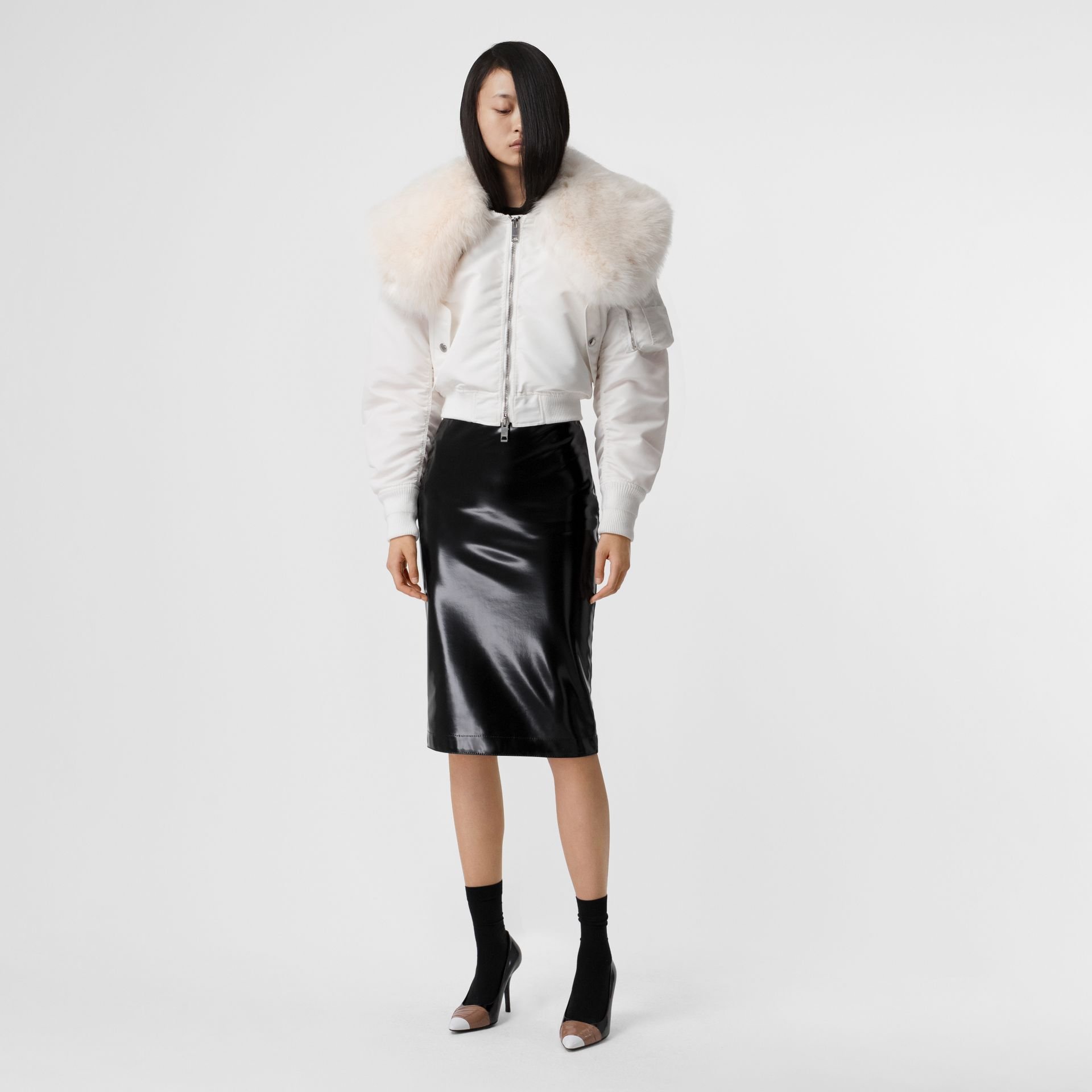 Faux Fur Collar Nylon Bomber Jacket in White - Women | Burberry - gallery image 0