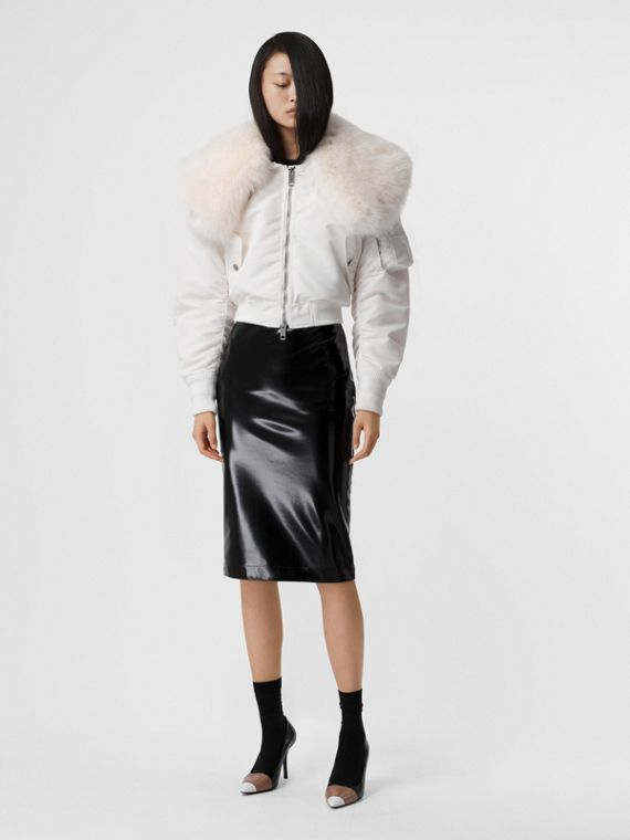 Faux Fur Collar Nylon Bomber Jacket in White
