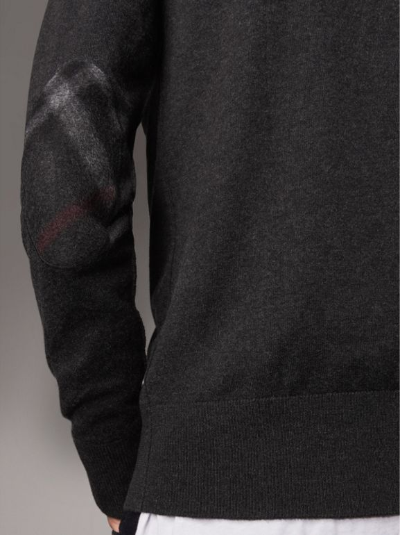 Zip-neck Cashmere Cotton Sweater in Charcoal - Men | Burberry - cell image 1