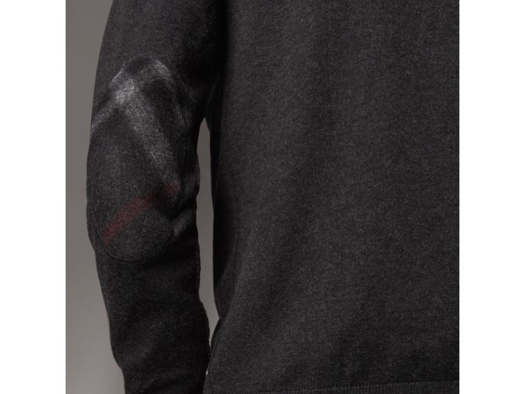 Zip-neck Cashmere Cotton Sweater in Charcoal - Men | Burberry United Kingdom - cell image 1