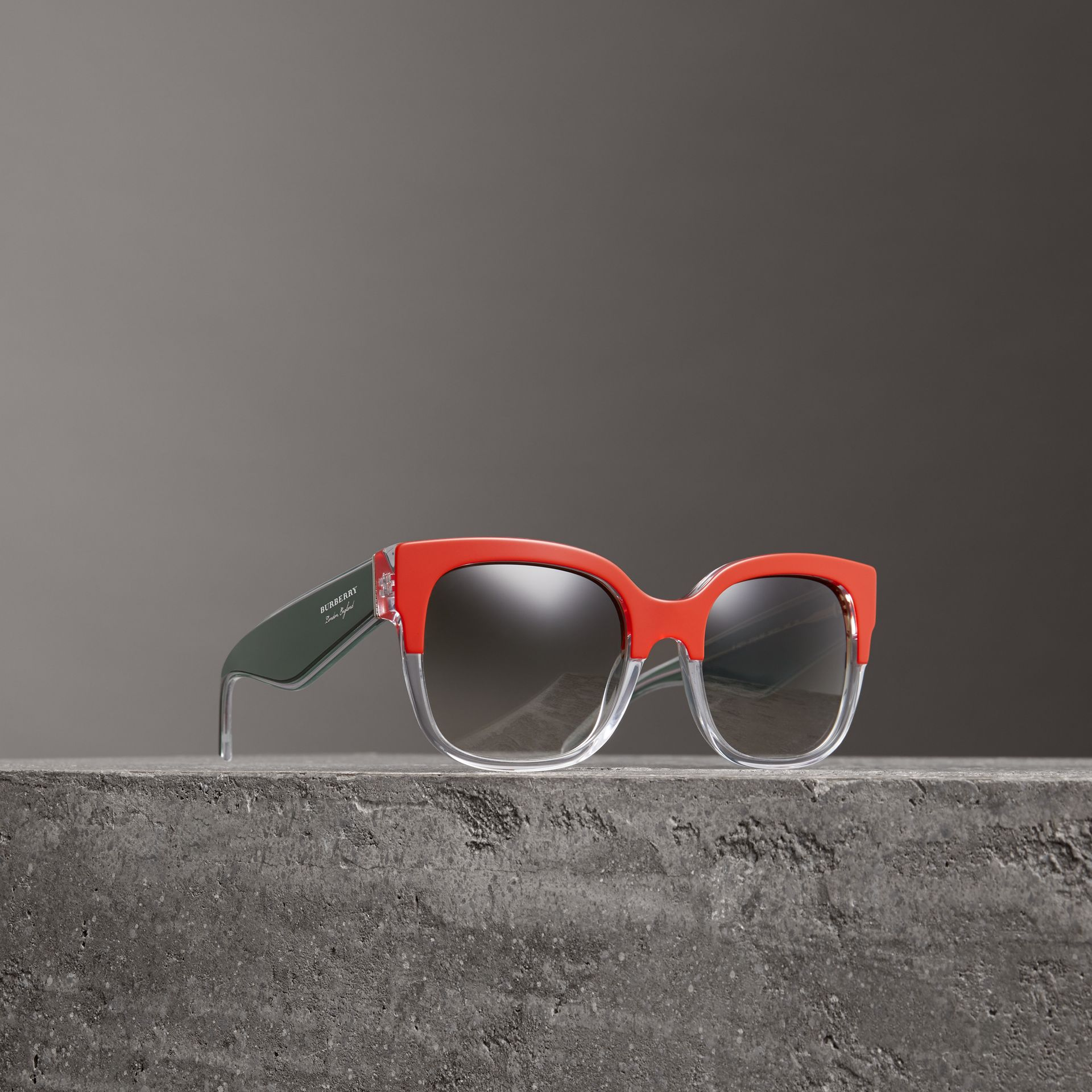 Two-tone Oversize Square Frame Sunglasses in Orange - Women | Burberry - gallery image 0
