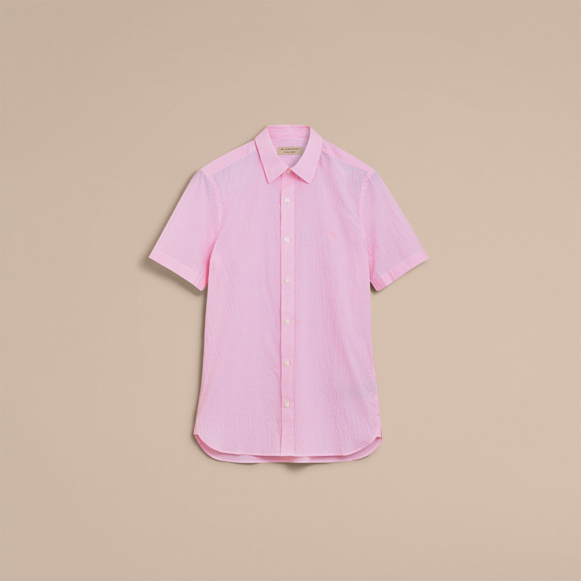 Short-sleeve Striped Cotton Seersucker Shirt in Pale Pink - Men | Burberry - gallery image 4