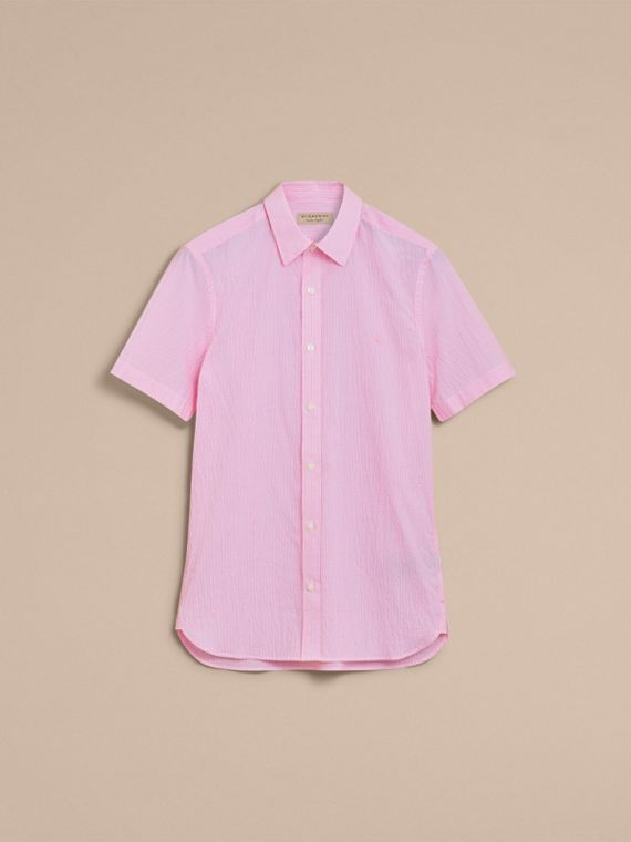Short-sleeve Striped Cotton Seersucker Shirt in Pale Pink - Men | Burberry - cell image 3